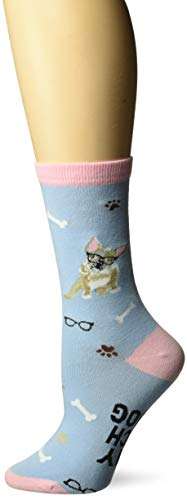 K. Bell Women's Dog Lover Novelty Casual Crew Socks, French Bulldog (Light Blue), Shoe Size: 4-10