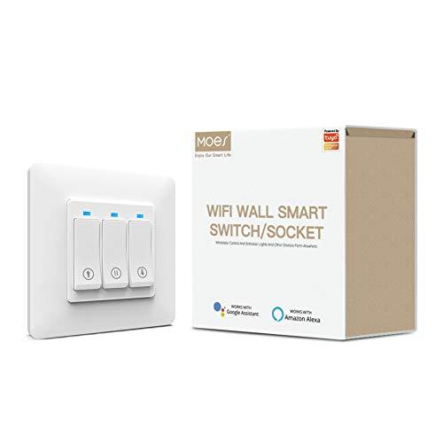 MOES WiFi Smart Rolladenschalter Tuya Smart Life App Fernbedienung Kompatibel mit Jalousien Schalter, Kompatibel mit Alexa und Google Home
