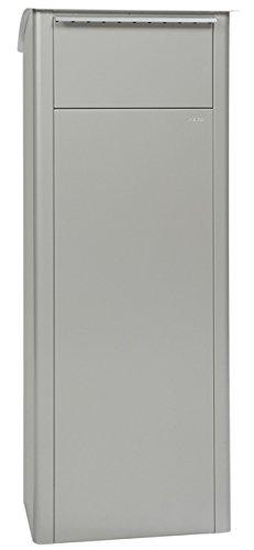 MEFA Paketpostkasten Beech (458) Weißaluminium RAL 9006 Standbriefkasten Briefe+Pakete Entnahme hinten Sicherheitsschloß