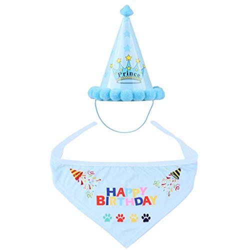 NYKK Disfraz de Perro Sombrero del Sombrero del cumpleaños Fiesta de cumpleaños del Perro casero Sombrero al Aire Libre del Traje de cumpleaños y decoración Set (Azul) Gorra para Mascotas