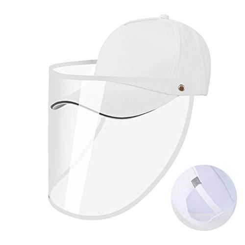 CYC Baseballmütze mit Schutzmaske Abnehmbare transparente Maske Sonnenhut Winddichter Sand UV-Schutz Fischerhut Geeignet für Erwachsene und Kinder Sport Reisen,Weiß