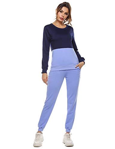 Irevial Chandal Conjunto para Mujer Invierno, Conjunto Chandal Mujer Completo Sudadera y Pantalón Deporte Ropa en Casa Pijama Mujer Manga Larga Dos Piezas