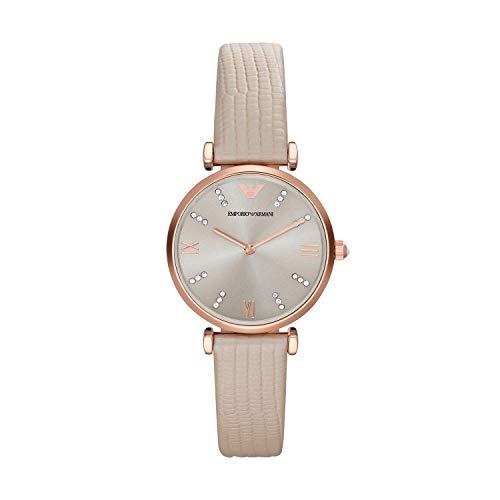 Emporio Armani Damen Analog Quarz Uhr mit Leder Armband AR1681