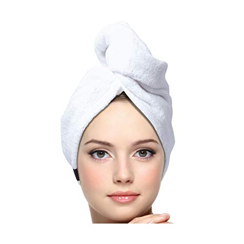KEEPOZ Hair Towel Wrap Quick Dry 100% Cotton Super Absorbent Turban Head Wrap for Women with Button, Anti Frizz Hair Products, Hair Cap for Curly, Long & Thick Hair (1Pc)(White)