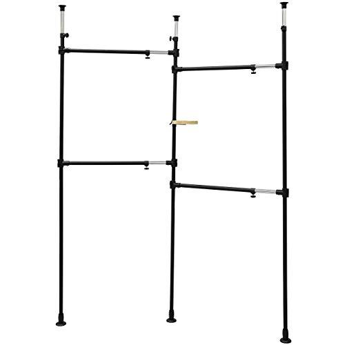 ワイエムワールド つっぱり式 ハンガーラック 伸縮式 壁面収納 小物トレー付 00-336