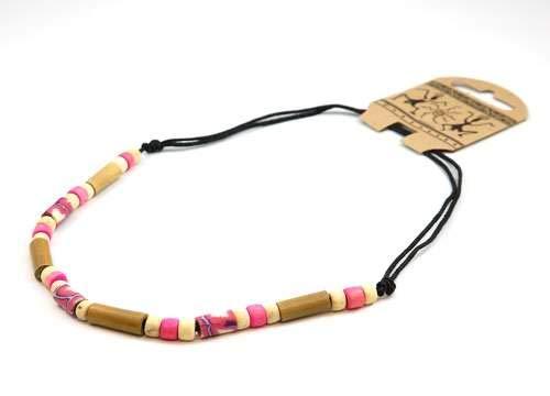 FJ283 - The Olivia Collection Collier de Perles de Bambou sur Corde Noire Ajustable
