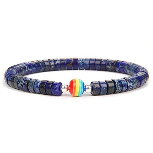 Natural Imperial Jaspe Stone Bracelets Rainbow Spacer Charm Beads Bangle Yoga Balance Energy Pulsera Men Jewelry Women Bracelet