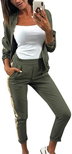 Damen Mode Streifen Trainingsanzug Frauen Lange Ärmel Zipper Top + Lange Hose Sportswear 2 Stück Set Sport Yoga Outfit Glitzer Trainingsanzug Set Herbst Zweiteiler Und Hosen Zweiteiler (Armee Grün,M)