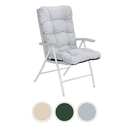 Gardenista Garden Chair Tufted Highback Seat Cushion | Water Resistant Easy Clean Fabric | Outdoor and Indoor Dining Furniture Seat Pad | Soft Touch & Comfortable (Grey)