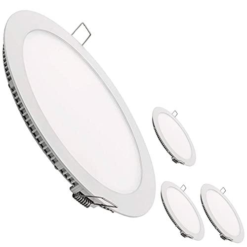 LED Atomant, S.L. Lot de 4 spots LED ronds plats, 18 W, blanc neutre 4 500 K, 1600 lumens, driver inclus, coupe standard 200 mm, 225 mm