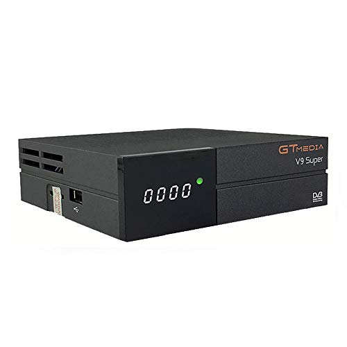 GT Media V9 Super DVB-S2 Decodificador Satélite Receptor de TV Digital FTA Receptor con H.265 HD, Wi-Fi Incorporado, AV Port, Soporte CCcam, Newcam, Youtube, PVR Ready, PowerVu Dre Biss Key
