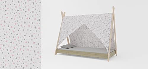 Meblex Cama tipo tipi para niños en madera natural, para niñas y niños, tamaño 160 x 80 cm, color blanco y rosa gris estrellas, marco Sonoma Todler