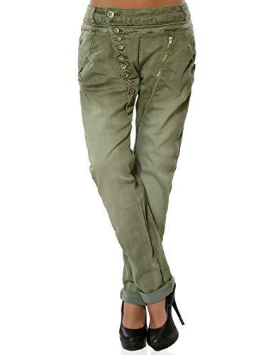 Daleus Damen Boyfriend Jeans Hose Knopfleiste Stretch Denim DA 15962 Farbe Khaki Größe M / 38