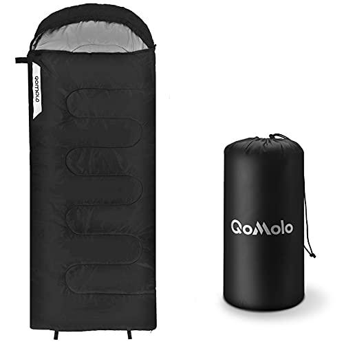 Qomolo Saco de Dormir, (190 + 30) x 80 cm Saco de Dormir de Camping, Bolsa de Dormir Que se Puede Convertir en Una Manta, Cálido y Transpirable, para Primavera, Verano y Otoño,1 kg