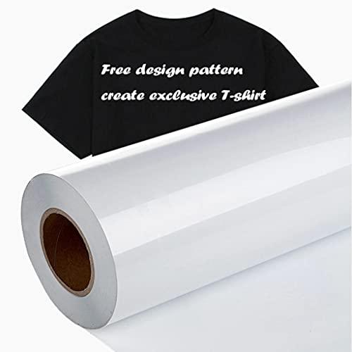 Heat Transfer Vinyl HTV Iron on Vinyl for T-Shirts 12 Inches by 10 Feet Roll Heat Transfer Vinyl for Shirts, Iron on Vinyl for Cricut & Cameo - Easy to Cut & Weed for Heat Vinyl Design (White)