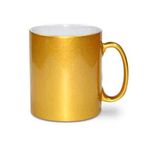 Printbox 12x Gold Metallic Effekt Tasse Becher für Sublimationsdruck 11oz, unbedruckt
