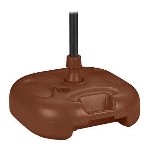 Relaxdays Sonnenschirmständer Soporte para sombrilla rellenable con Agua o Arena, tamaño del bastón: 25 – 32 mm, pies de plástico, 43 x 43 cm, Color marrón