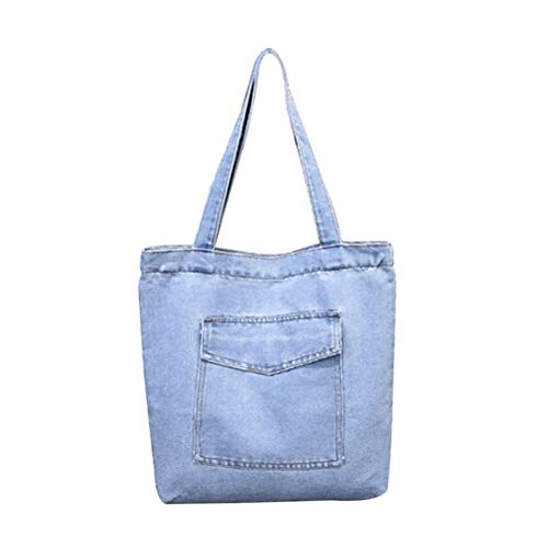 Bolso de hombro de gran capacidad, estilo casual, de mezclilla, para niñas y mujeres (estilo 2, azul oscuro)