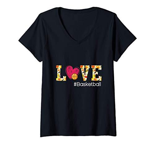 Mujer Amo el baloncesto Camiseta Cuello V