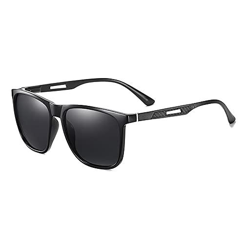 Hombre Rectangulares Gafas De Sol,Moda Polarizadas Gafas,Antideslumbrantes UV 400 Protección Gafas,Al-mg Marco De Metal,Súper Ligero HD Pesca Viajes Aire Libre Deportes Deportivas -B 14.2x5.3x14cm(6x2