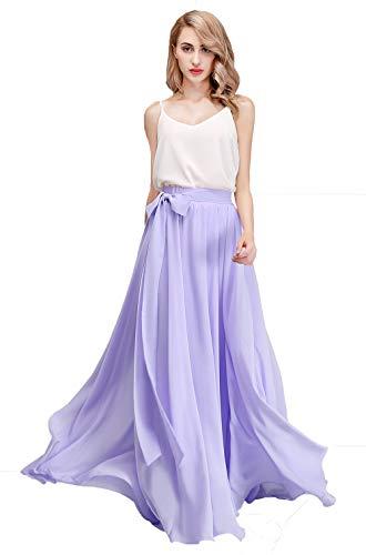 honey qiao Women's Chiffon Maxi Skirt Bridesmaid Dresses Long High Waist Floor/Ankle Length Elastic Woman Dresses with Belt Lavender