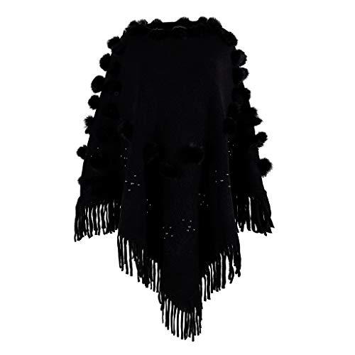 Deloito Poncho Damen Stilvoll Rundhals Strickjacke Einfarbig Haarball Sweatshirt Perlen Quaste Umhange Elegant Lose Schal Strickmantel (Schwarz,Freie Größe)