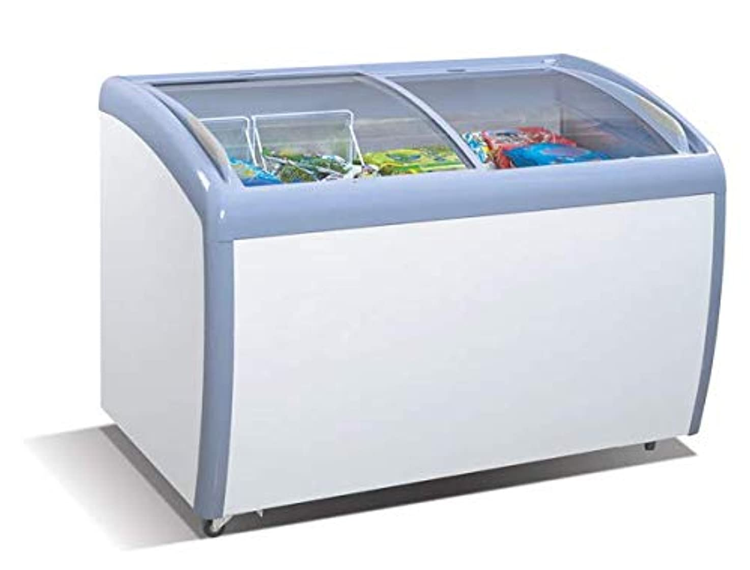 Tiger Chef Commercial Angle Curved Top Chest Freezer Glass Top, Deep Ice Cream Freezer with 2 Wire Baskets, Adjustable Thermostat, Locking Coasters, 9 Cubic Feet, White ahtejqejfqhpw7
