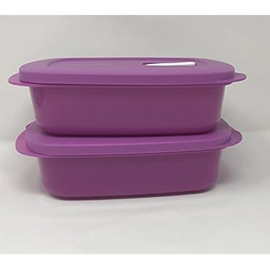 Tupperware Crystalwave Rectangle Microwave 2 Pc Set 4cup/1l - Purple