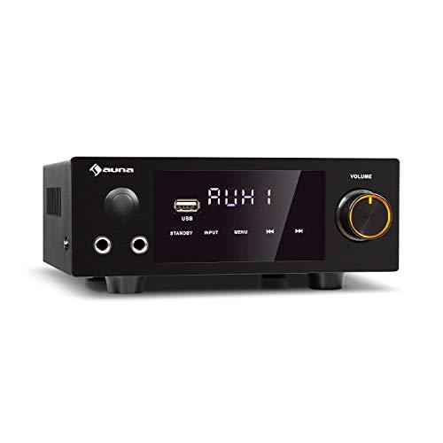 auna AMP-2 DG Stereo-HiFi-Verstärker - 2 x 50 Watt RMS, Bluetooth, 2 x Digital-In: optisch & coaxial, USB, AUX- und DVD-Eingang, Regelbar: Bässe, Höhen, Balance, Echo, LED-Display, schwarz