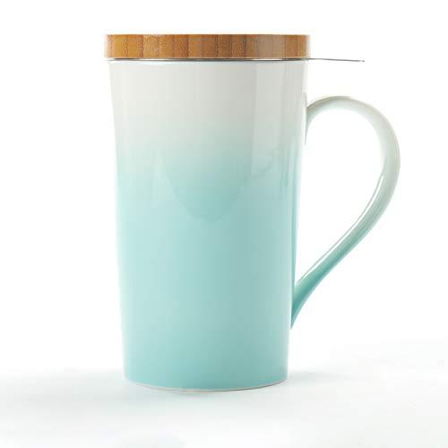 TEANAGOO M066-G Tea Cup with Filter and Lid, 18 OZ, Green, Mom Dad Women with Infuser, Mug Steeper Maker, Brewing Strainer for Loose Leaf Tea, Diffuser Mug Set for Lover Teacup Porcelain
