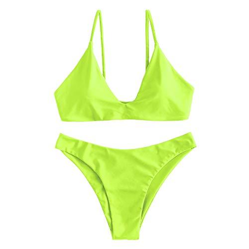 ZAFUL Damen Bikini mit gepolstertem Hochgeschnittenem Bindeband und Zweiteiligem Badeanzug (S, Grün Gelb)