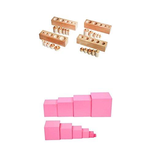 MagiDeal 1 Establecimiento de Montessori Torre, Color Rosa + 1 Conjunto de Bloques de Cilindro Montessori DIY Juguete