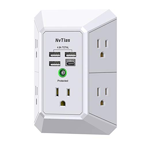 Multi Plug Outlets,Surge Protector, NvTias USB Wall Charger with 4 USB Charging Ports(4.8A Total,1 Type C ) , 3-Prong 1680J Power Strip Wall Adapter Spaced for Home ,Office,Cruise Dorm Essentials…