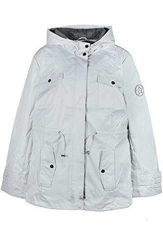 Sheego Parka Anorak Outdoorjacke Regenjacke Übergangsjacke Damen, Farbe:hellgrau, Damengrößen:44