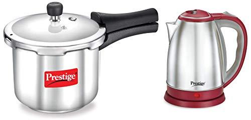 Prestige 1.5 Litre Kettle 1500-watts, Red + Prestige Popular Stainless Steel Pressure Cooker, 2 litres, Silver