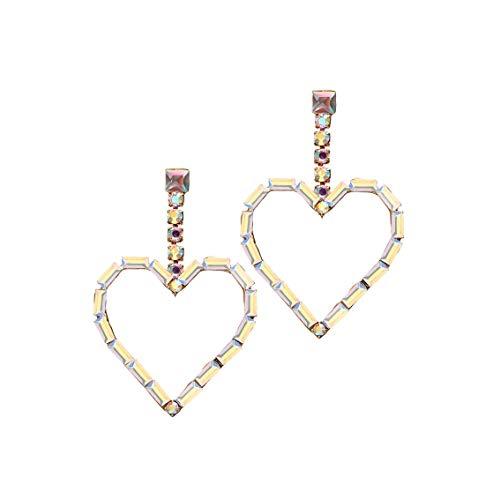 Creative vintage grote decoratieve kleurrijke ingelegde diamanten perzik hart oorbellen