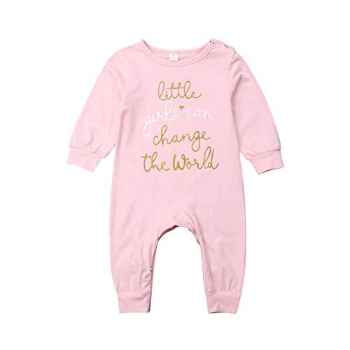 ShinyAmber Body Fille Tutu Body Fille Robe d'été Nouveau-né Impression Petite Fille Peut Changer Le Monde Babys One-Piece Dress (Pink, 70)
