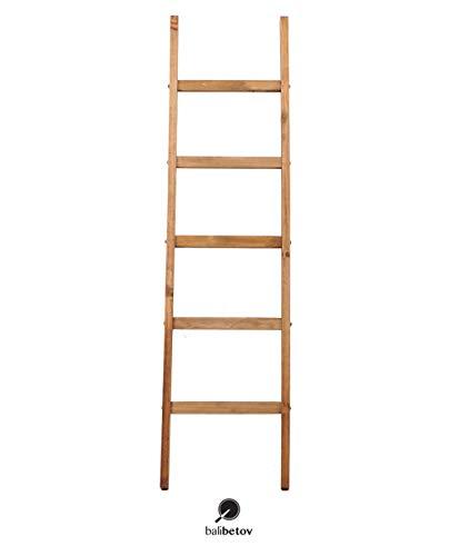 BALIBETOV Dekenladder-Decoratieve houten deken Rustieke ladder Badkamerplank- -Badkamerdecoratie-Houten kleding Droogrek-Witte plankladder Boekenrek-Handdoekrekstandaard (BEIGE, 152 cm)