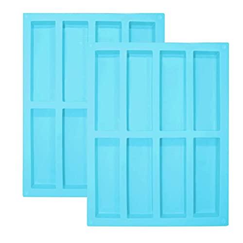 IWILCS 2PCS Moldes de silicona rectangulares, 8 cavidades Paquetes de moldes rectangulares, Molde Turron Silicona, para barritas de cereales, mantequilla de cacahuete, barritas de chocolate