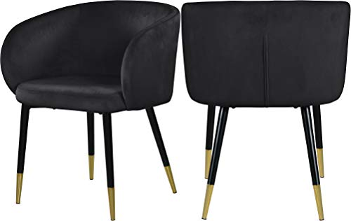 "Meridian Furniture Louise Collection Modern | Contemporary Velvet Upholstered Dining Chair with Gold Tipped, Black Metal Legs, 24"" W x 23.5"" D x 30"" H"
