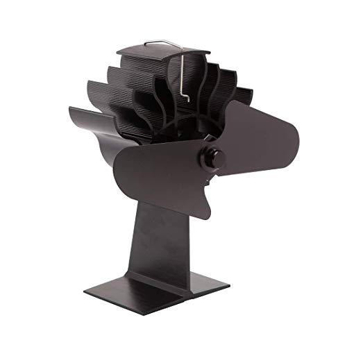 Houten pan ventilatorkachel ventilator, 4 messen met thermometer, kachelventilator stille werking voor houtkachel/log burner/open haard verhoogt 90% warme lucht