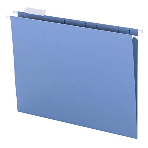Smead Colored Hanging File Folder with Tab, 1/5-Cut Adjustable Tab, Letter Size, Blue, 25 per Box (64060)