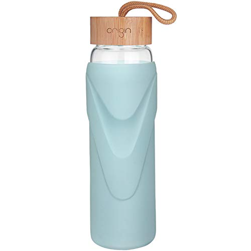Origin - Best WIDE MOUTH BPA-Free Glass Water Bottle With Protective Silicone Sleeve and Bamboo Lid - Dishwasher Safe (Sky Blue, 32 Ounce)
