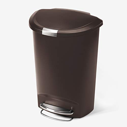simplehuman 50 Liter / 13 Gallon Semi-Round Kitchen Step Trash Can, Mocha Plastic With Secure Slide Lock
