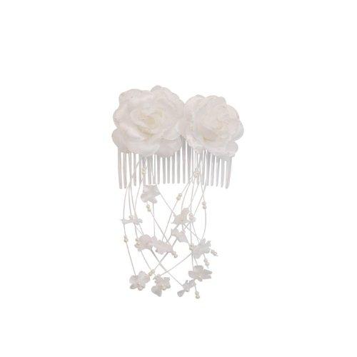 SG Paris Accessoires cheveux Peigne comb L8,5cm Résine ou plastique Blanc Fleur