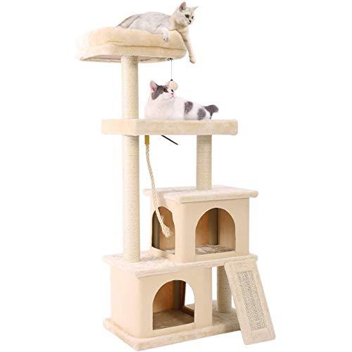 FYHpet Diseño del árbol del Gato con la Escalera de rasguño, Nido un Gato con una Canasta espaciosa y los Polos de Scratch de sisal, Centro de Actividad Multifuncional Muebles de Gato Gatitos