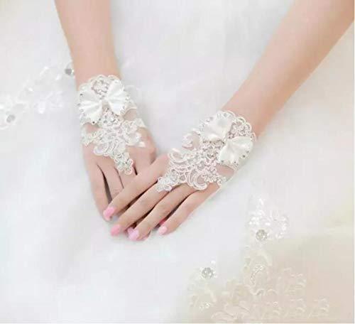 JHLWLS Hochzeitshandschuhe Weiße Fingerlose Brauthandschuhe Für Brautkleider Kurze Elegante Strass Braut Hochzeit Handschuhe Braut Handschuh