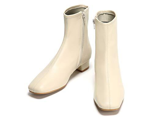 C.PARAVANO Botines para señoras Mustang Blanco I Botines para señoras Blanco Crema I Botines de Piel I Botines Blanco Primavera I Botines para señoras con Cremallera I Botines (Blanco F3,41)