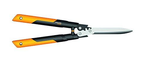 Fiskars PowerGear X Getriebe-Heckenschere, Antihaftbeschichtet, Hochwertige Stahl-Klingen, Länge: 63 cm, Schwarz/Orange, HSX92, 1023631