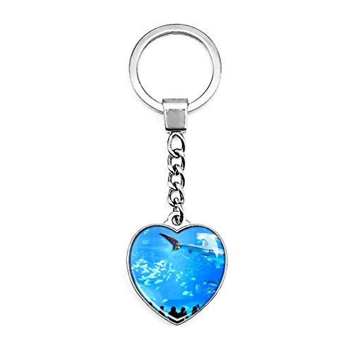 Hqiyaols Keychain USA Amerika Georgia Aquarium Atlanta Schlüsselkette Kreative Doppelseitige Herz-Kristall-Schlüsselkette Tourist Souvenir Metal